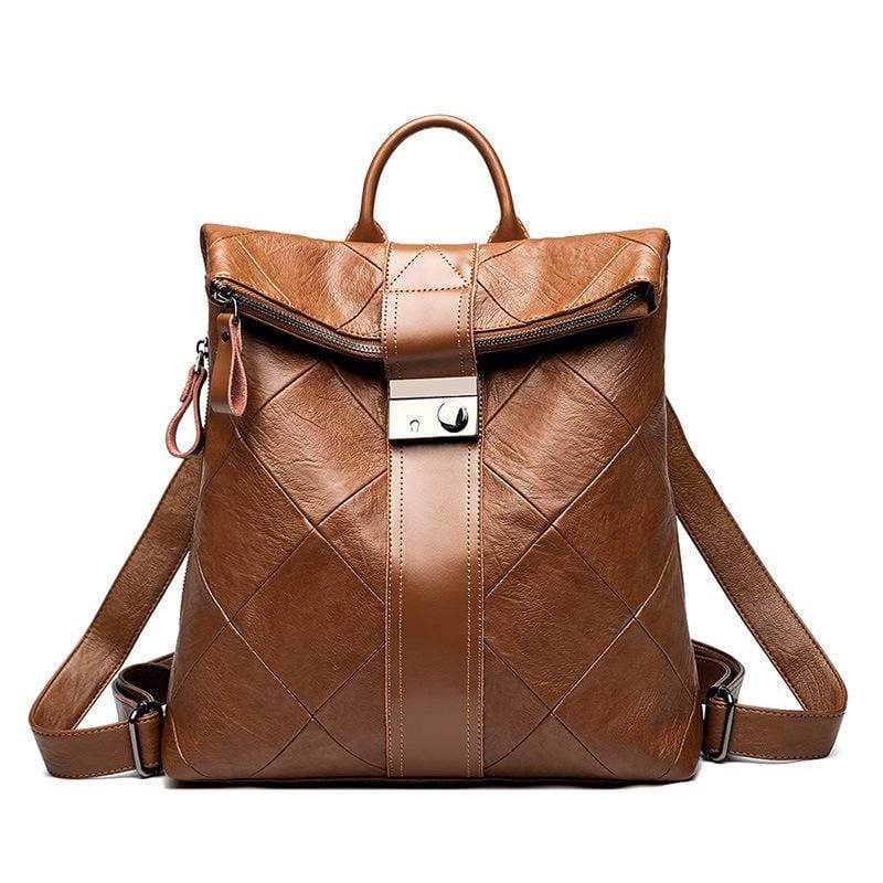 Obangbag Brown Women Chic Stylish Large Capacity Patchwork Multifunction Genuine Leather Backpack for Work for Travel