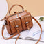 Obangbag Brown Women Chic Stylish Multi Pockets Roomy Multifunction Leather Boston Bag Handbag Crossbody Bag Backpack