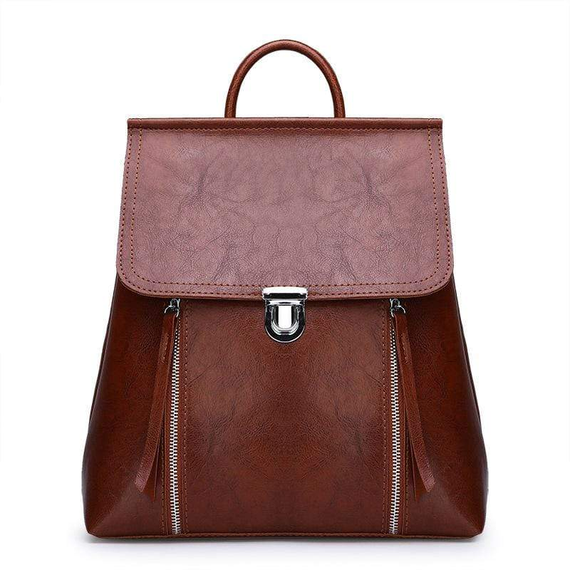 Obangbag Brown Women Chic Stylish Retro Multifunction Roomy Leather Backpack Bookbag Shoulder Bag