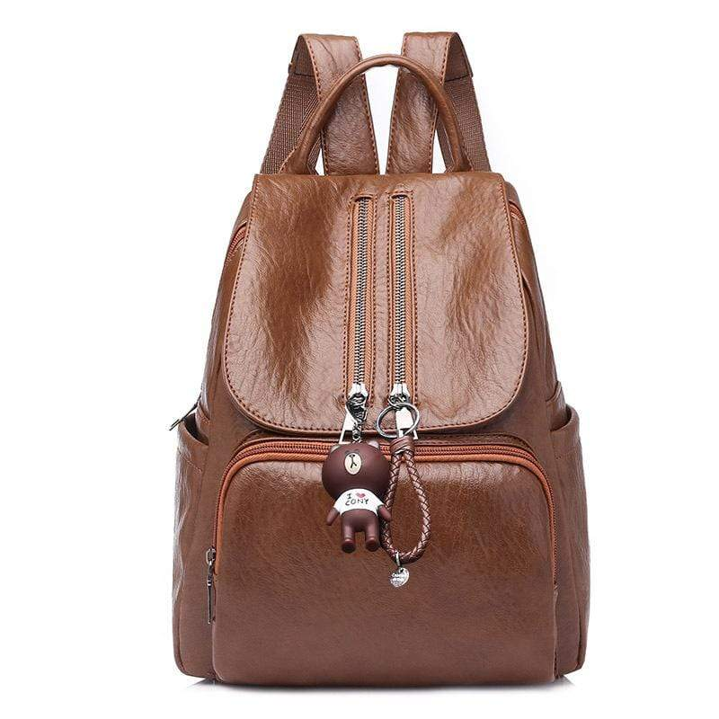 Obangbag Brown Women Chic Stylish Roomy Lightweight Waterproof Soft Leather Backpack Bookbag