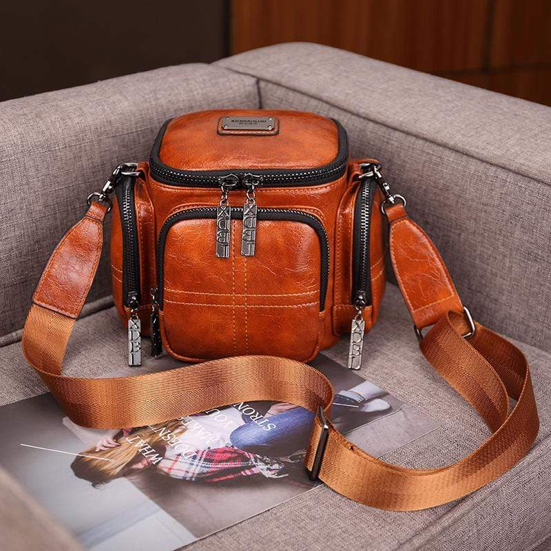 Obangbag Brown Women Chic Vintage Multifunction Multi Pockets Square Oil Wax Leather Shoulder Bag Crossbody Bag