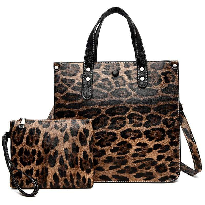 Obangbag Brown Women Chic Vintage Professional Large Capacity Multifunction Leopard Pattern Leather Bag Set Purse Crossbody Bag