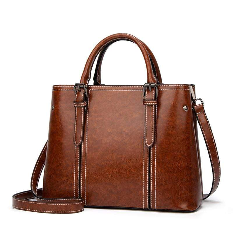 Obangbag Brown Women Chic Vintage Retro Roomy Professional Oil Wax Leather Handbag Shoulder Bag Crossbody Bag