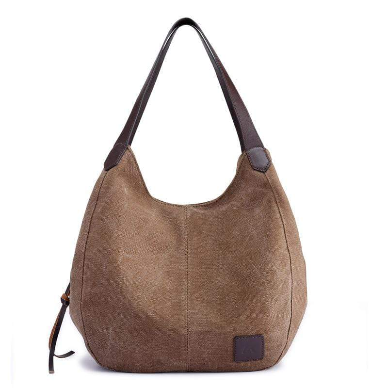 Obangbag Brown Women Chic Vintage Roomy Multi Pockets Canvas Handbag Shoulder Bag