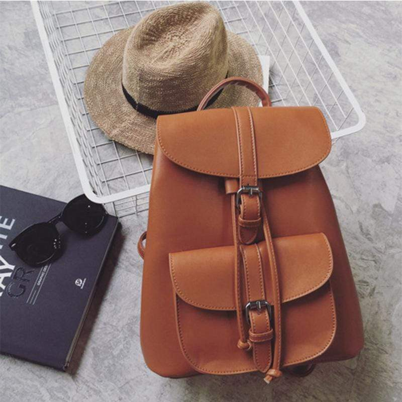 Obangbag Brown Women Cute Fashion Casual Roomy Anti-theft PU Leather Backpack Bookbag for School
