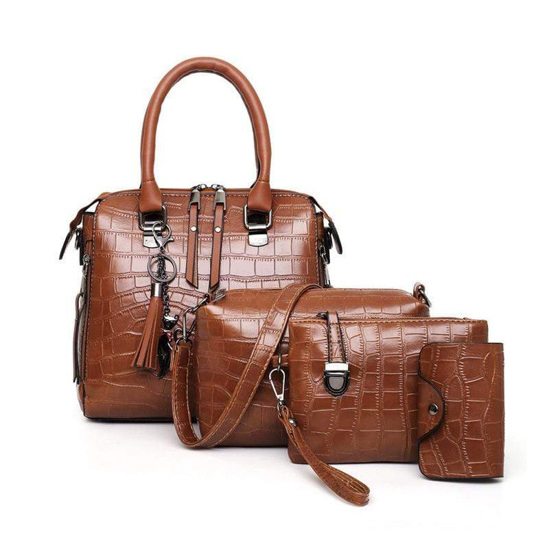 Obangbag Brown Women Elegant Multifunction Large Capacity Crocodile Pattern Leather Handbag Crossbody Bag Purse Card Holder