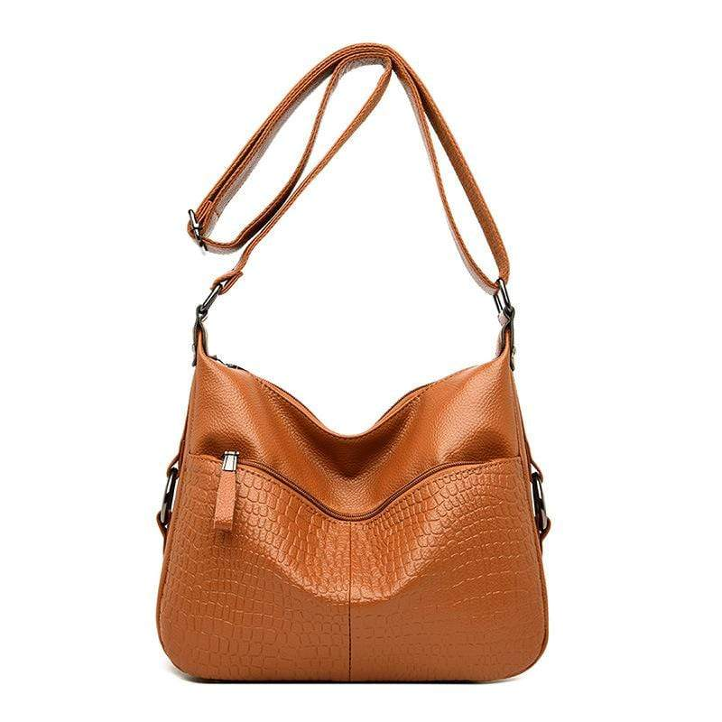 Obangbag Brown Women Elegant Stylish Large Capacity Soft Leather Shoulder Bag Crossbody Bag for Work