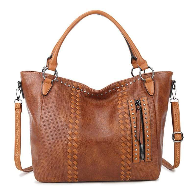 Obangbag Brown Women Elegant Vintage Big Large Capacity Rivet Professional Leather Shoulder Bag Handbag Crossbody Bag