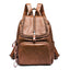 Obangbag Brown Women Fashion Large Capacity Roomy Multi Pockets Soft Leather Backpack for School