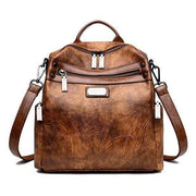 Obangbag brown Women Fashion Multi-Carry Soft Leather Work Backpack