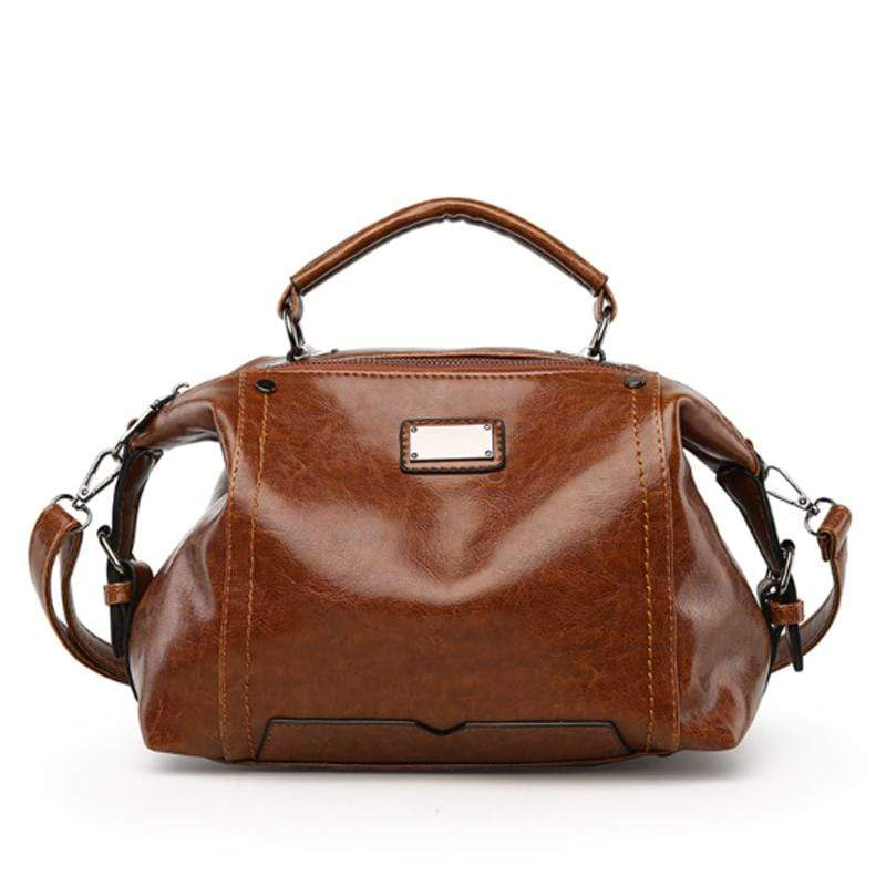 Obangbag Brown Women Fashion Vintage Large Capacity Roomy Oil Wax Leather Handbag Crossbody Bag for Work