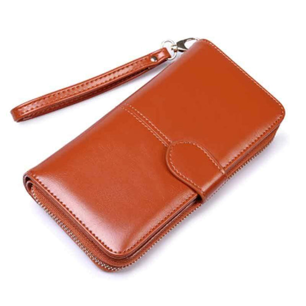 Obangbag Brown Women Faux Leather  Long Clutch Bag Wallet Card Holder