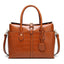 Obangbag Brown Women Large Capacity Elegant Crocodile Skin Pattern PU Leather Handbag