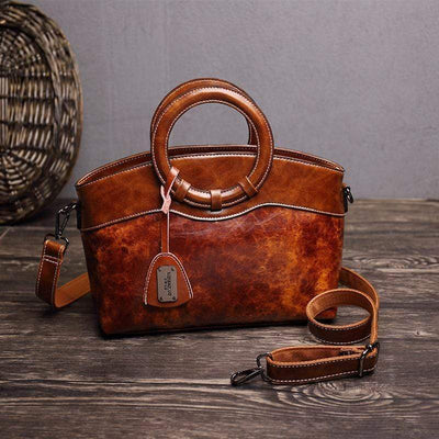 Obangbag Brown Women Layered Messenger Bag Retro Vintage Handbag