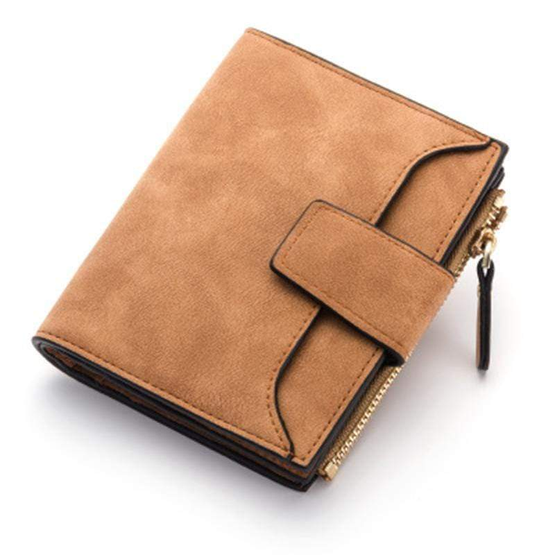 Obangbag Brown Women Leather Wallets Cards Holders Coin Pocket Purse