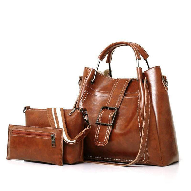 Obangbag Brown Women Luxury 3 Pieces Bag Set Retro Oil Wax Leather Purse Handbag