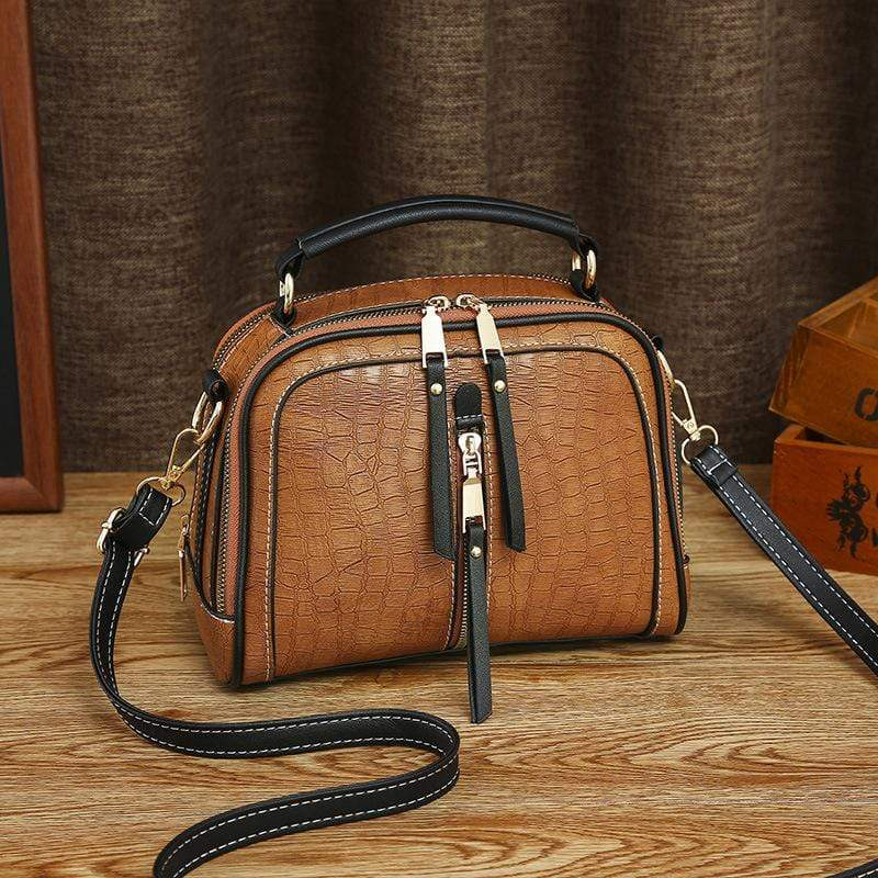 Obangbag Brown Women Mini Vintage Daily Lightweight Roomy Leather Crossbody Bag Handbag Shoulder Bag