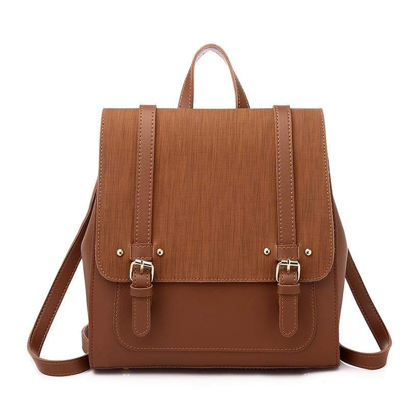 Obangbag Brown Women Retro Chic Large Capacity Multifunction Square Leather Backpack  Crossbody Bag for School