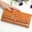 Obangbag Brown Women Retro Chic Multi Pockets Lightweight Leather Clutch Purse Long Wallet