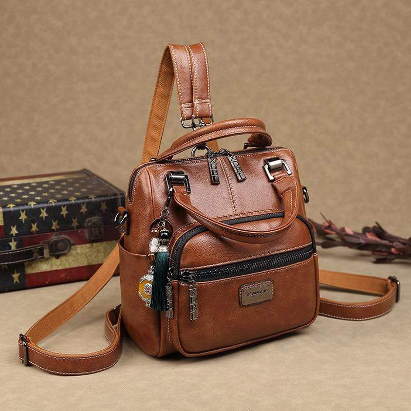 Obangbag Brown Women Retro Chic Multi Pockets Multifunction Roomy Double Zipper Oil Wax Leather Backpack Handbag