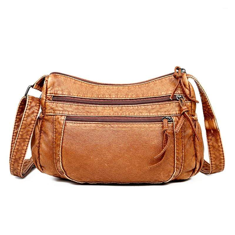 Obangbag Brown Women Retro Daily Vintage Multi Pockets Roomy Soft Leather Shoulder Bag Crossbody Bag for Work