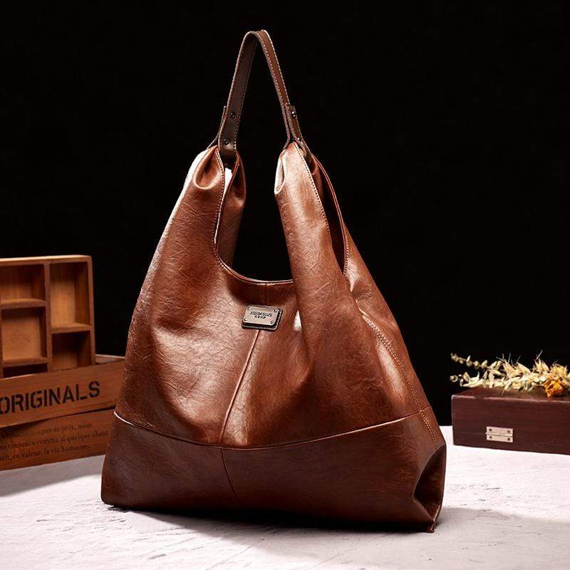 Obangbag Brown Women Retro Elegant Vintage Professional Big Large Capacity Soft Leather Shoulder Bag Handbag