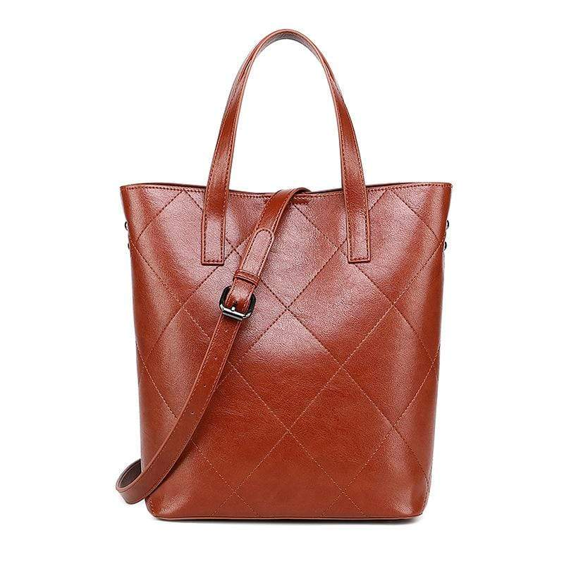 Obangbag Brown Women Retro Fashion Elegant Large Capacity Gradient Multi Pockets Leather Handbag Crossbody Bag