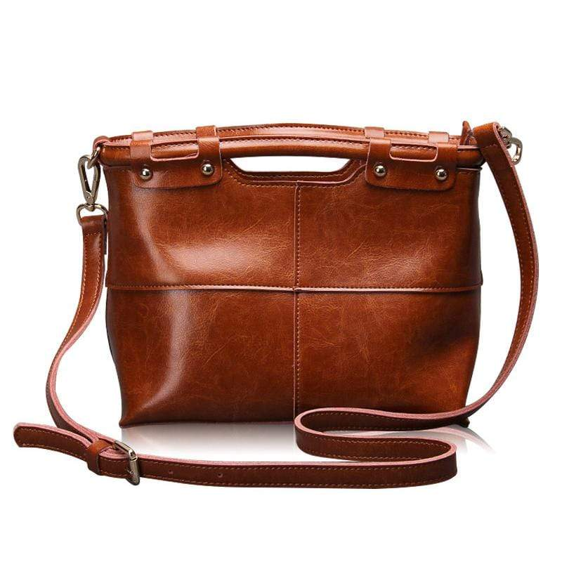 Obangbag Brown Women Retro Large Capacity Daily Professional Genuine Leather Handbag Crossbody Bag for Work