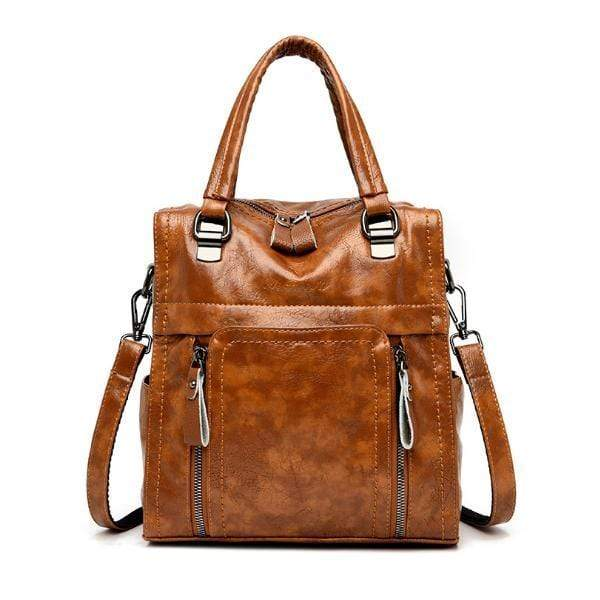 Obangbag Brown Women retro large capacity multi-pocket multi-function backpack messenger shoulder bag