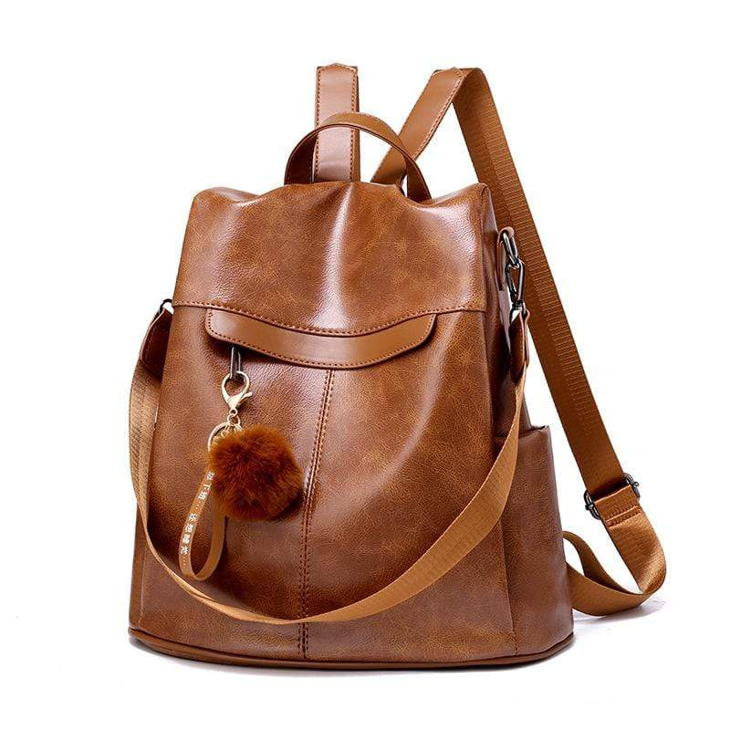 Obangbag Brown Women Retro Stylish Anti-theft Roomy Multi Pockets Leather Backpack Bookbag for School