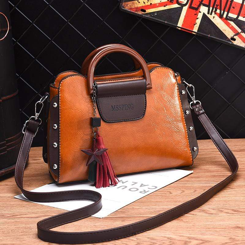 Obangbag Brown Women Retro Stylish Tassel Leather Handbag Crossbody Bag