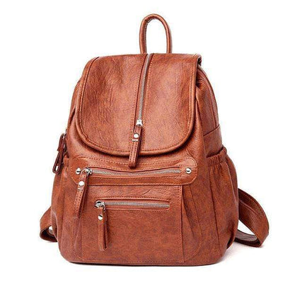 Obangbag brown Women Retro Vintage Designer Soft Leather Large Capacity Casual Travel Fashion Backpack