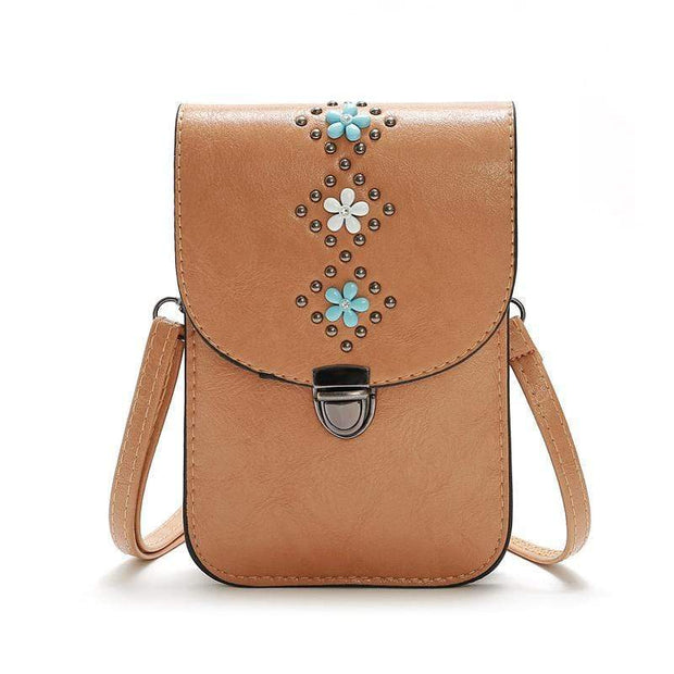 Obangbag Brown Women Retro Vintage Flower Rivet Leather Phone Bag Purse