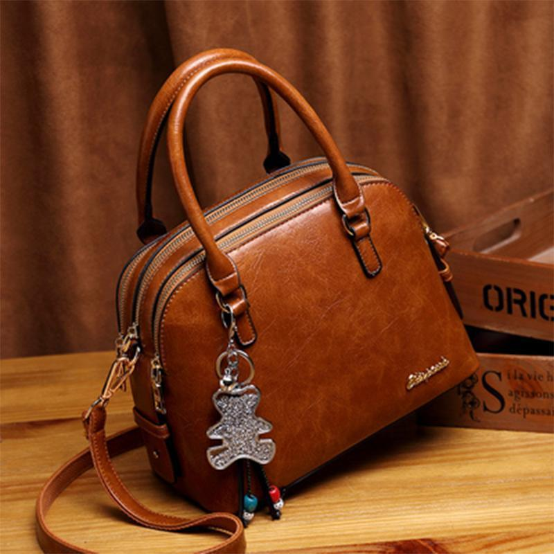 Obangbag Brown Women Retro Vintage Leather Handbag Multi Pockets Shoulder Bag