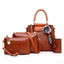 Obangbag Brown Women Retro Vintage Multi Pockets Crocodile Leather 4In1 Shouder Bag Crossbody Bag Purse Handbag