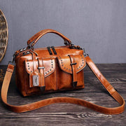 Obangbag Brown Women's Retro Vintage Leather Multi-Pocket Large Capacity Handbag Messenger Bag