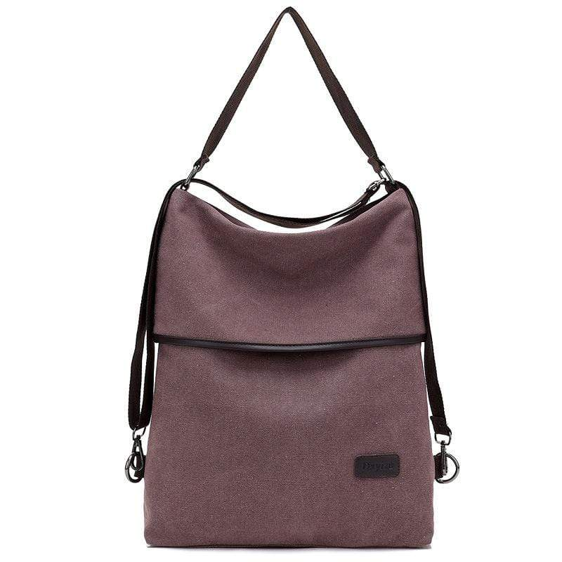 Obangbag Brown Women Simple Casual Multifunction Large capacity Lightweight Canvas Backpack Shoulder Bag Crossbody Bag for Work for School