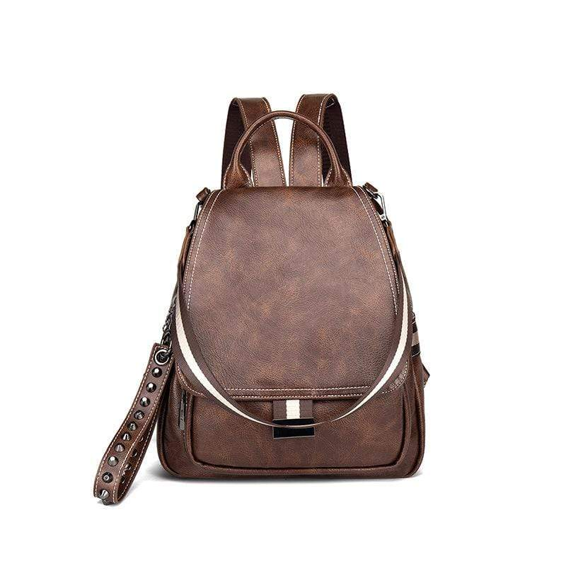 Obangbag Brown Women Simple Chic Roomy Multifunction Leather Backpack Bookbag for Work for School