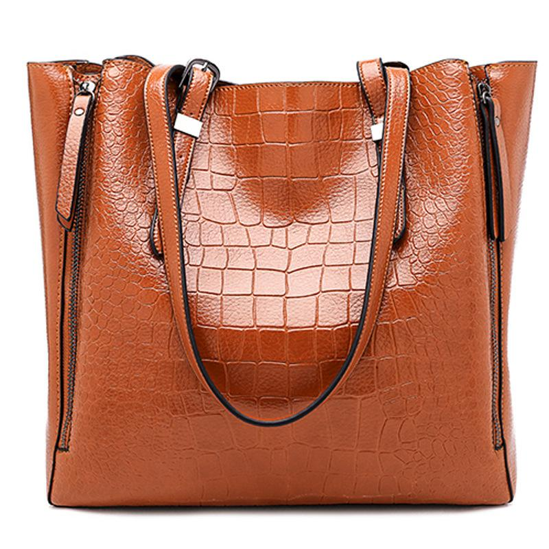 Obangbag Brown Women Stylish Fashion Large Capacity Crocodile Pattern Oil Wax Leather Tote Bag Handbag