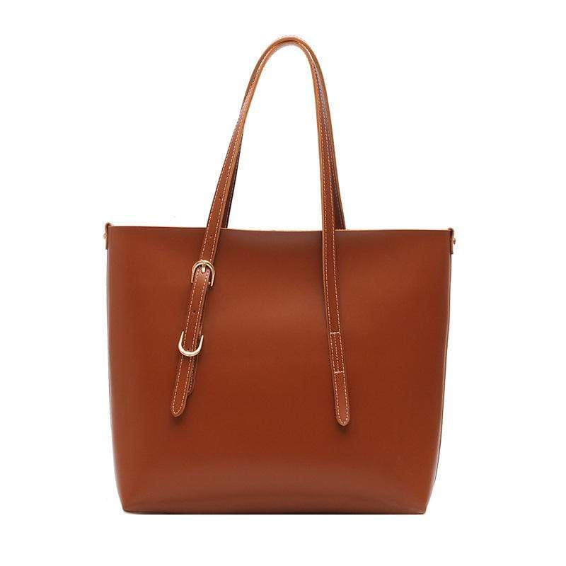 Obangbag Brown Women Stylish Professional Big Large Capacity PU Leather Handbag Toter Bag Bag Set for Work