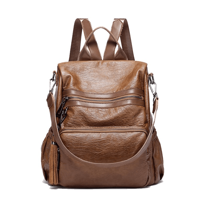 Obangbag brown Women Tassel Double Layer Pockets Fashion Leather Work Backpack