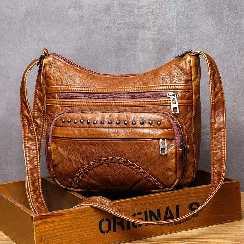 Obangbag Brown Women Vintage Casual Lightweight Roomy Multi Pockets Soft Leather Shoulder Bag Crossbody Bag for Work