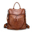 Obangbag Brown Women Vintage Chic Double Zipper Roomy Multifunction Crocodile Pattern Leather Backpack Shoulder Bag