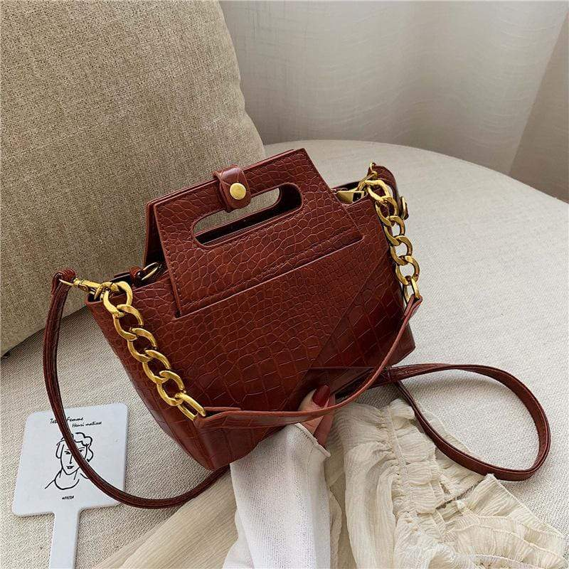Obangbag Brown Women Vintage Chic Fashion Roomy Multifunction Crocodile Pattern Leather Crossbody Bag Handbag Bag Set