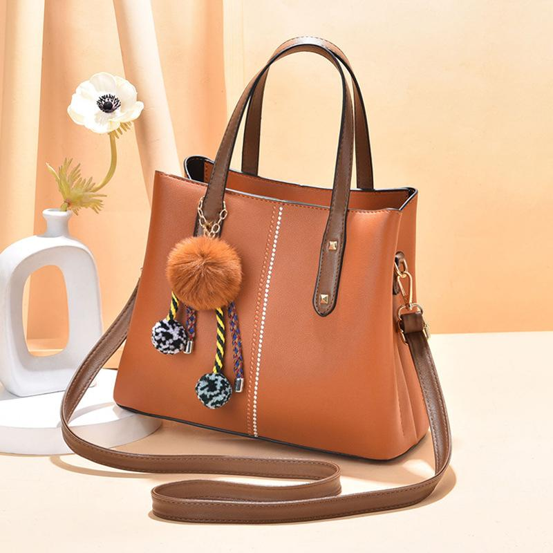 Obangbag Brown Women Vintage Chic Large Capacity Professional Leather Handbag Shoulder Bag Crossbody Bag