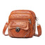 Obangbag Brown Women Vintage Chic Mini Multi Pockets Lightweight Soft Leather Crossbody Bag Shoulder Bag