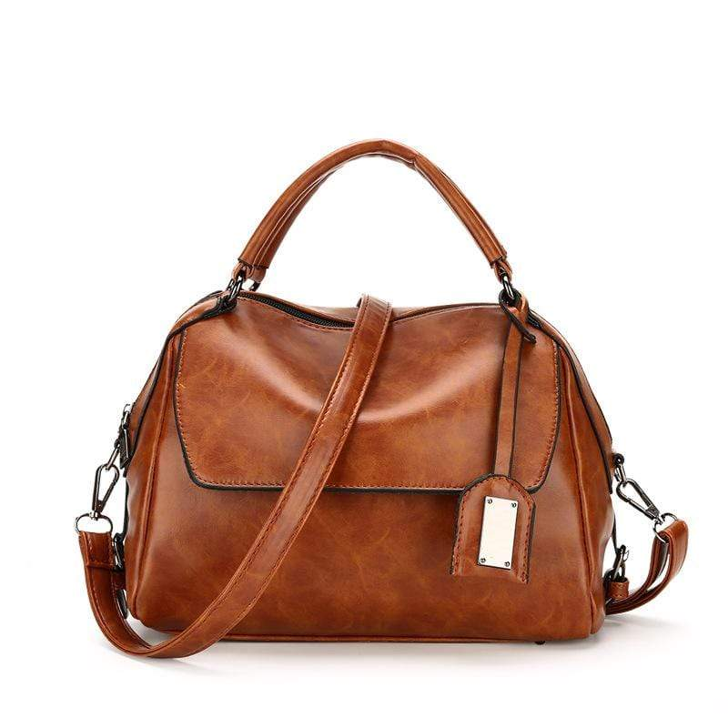 Obangbag Brown Women Vintage Chic Multi Pockets Multifunction Roomy Oil Wax Leather Boston Bag Handbag Crossbody Bag