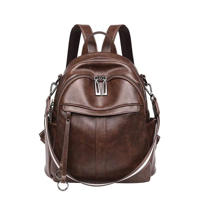 Obangbag Brown Women Vintage Chic Multifunction Anti-theft Oil Wax Leather Backpack Shoulder Bag for Travel