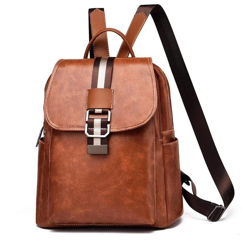 Obangbag Brown Women Vintage Chic Roomy Multifunction Casual Soft Leather Backpack Bookbag