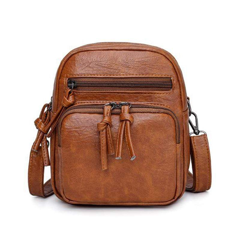 Obangbag Brown Women Vintage Cute MIni Multi Layers Roomy Lightweight Leather Crossbody Bag Shoulder Bag